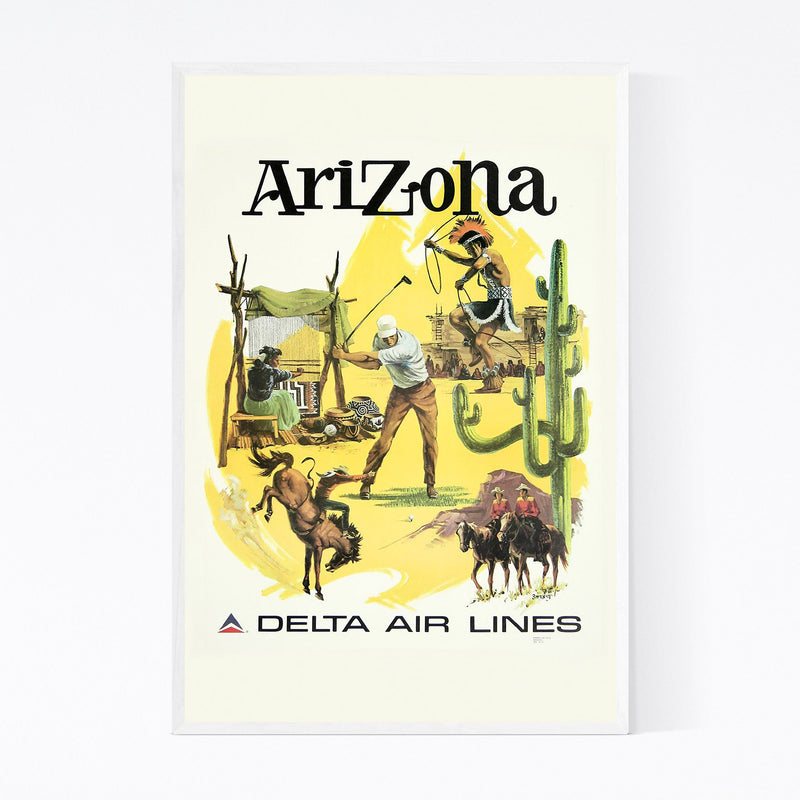 Arizona Vintage Travel Poster  Framed Art Print