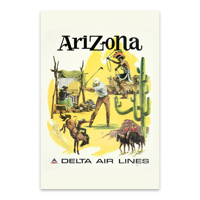 Arizona Vintage Travel Poster  Metal Art Print