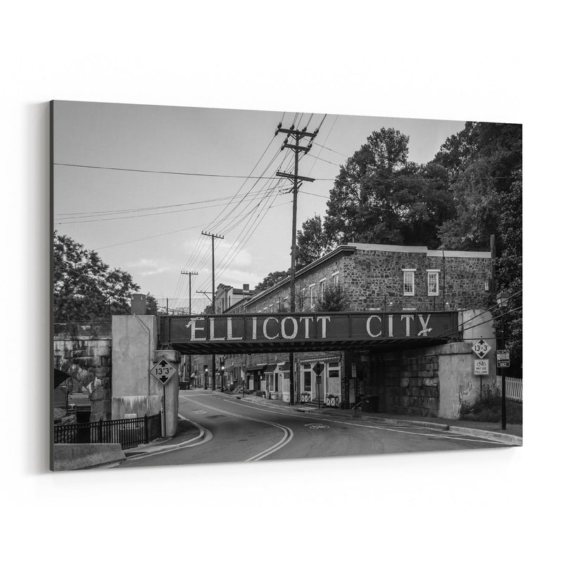 Black & White Ellicott City MD Canvas Art Print