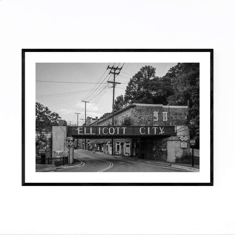 Black & White Ellicott City MD Framed Art Print