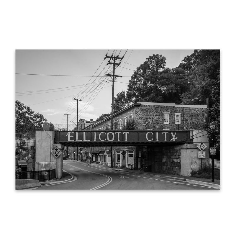Black & White Ellicott City MD Metal Art Print