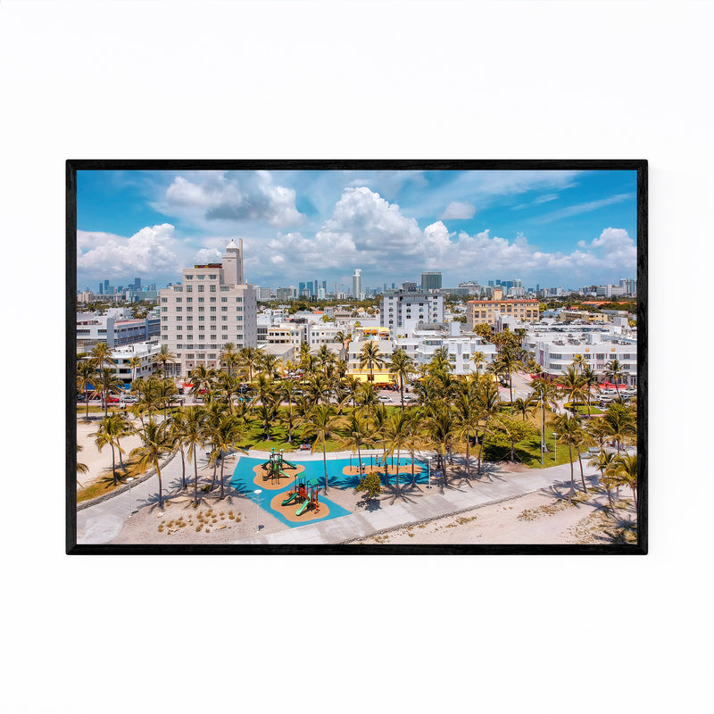South Beach Miami Florida Aerial Framed Art Print