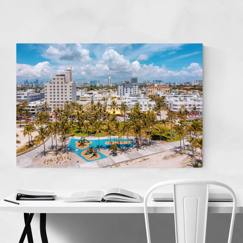 South Beach Miami Florida Aerial Canvas Art Print