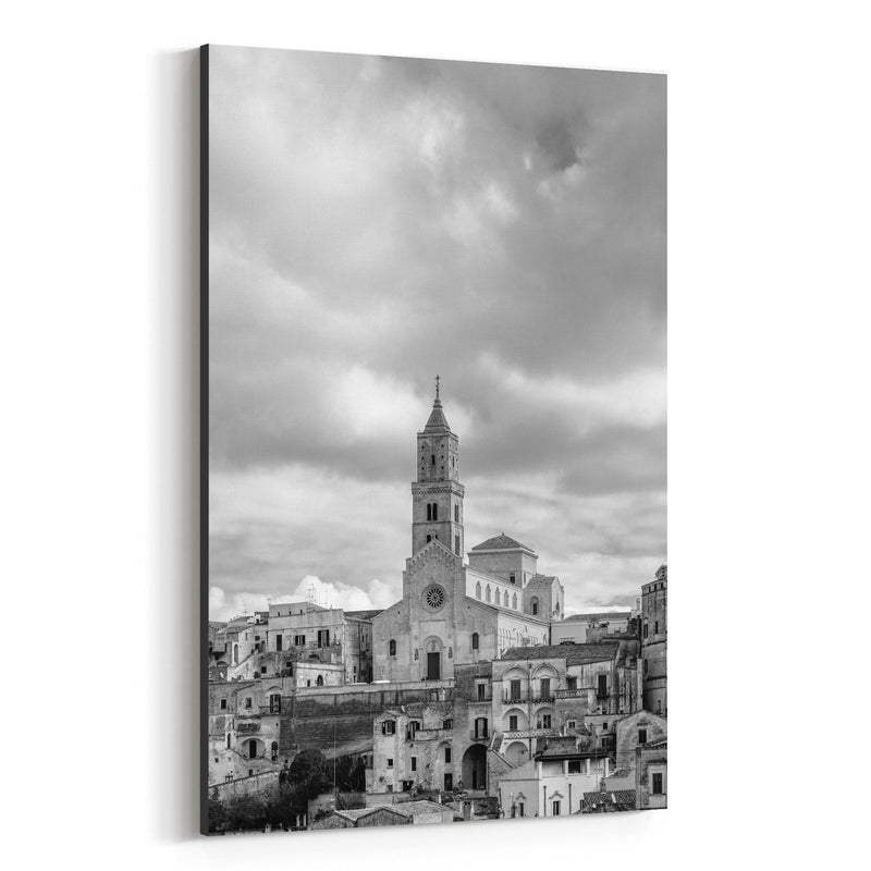Black & White Matera Italy Canvas Art Print
