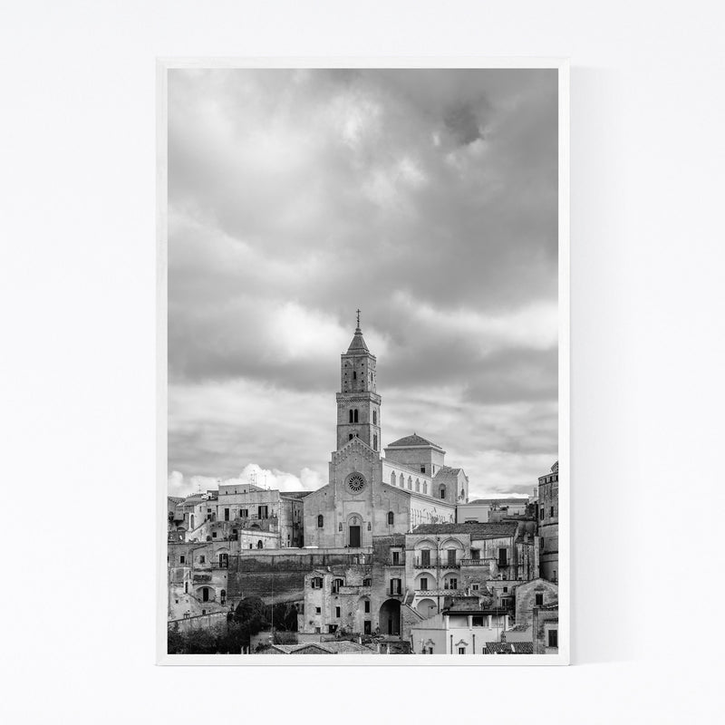 Black & White Matera Italy Framed Art Print