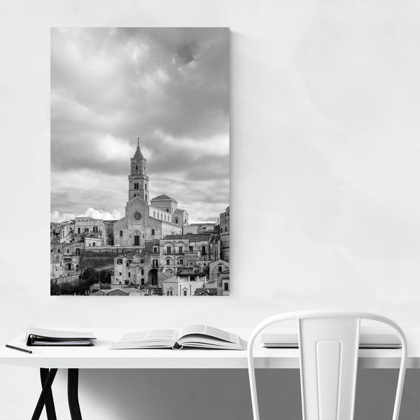 Black & White Matera Italy Art Print