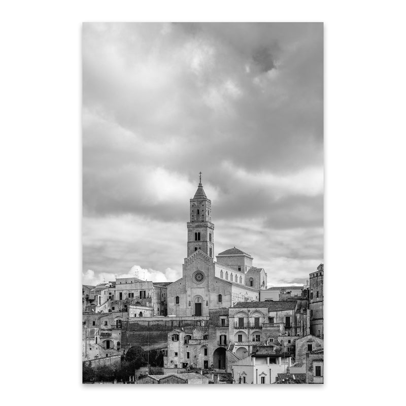 Black & White Matera Italy Metal Art Print