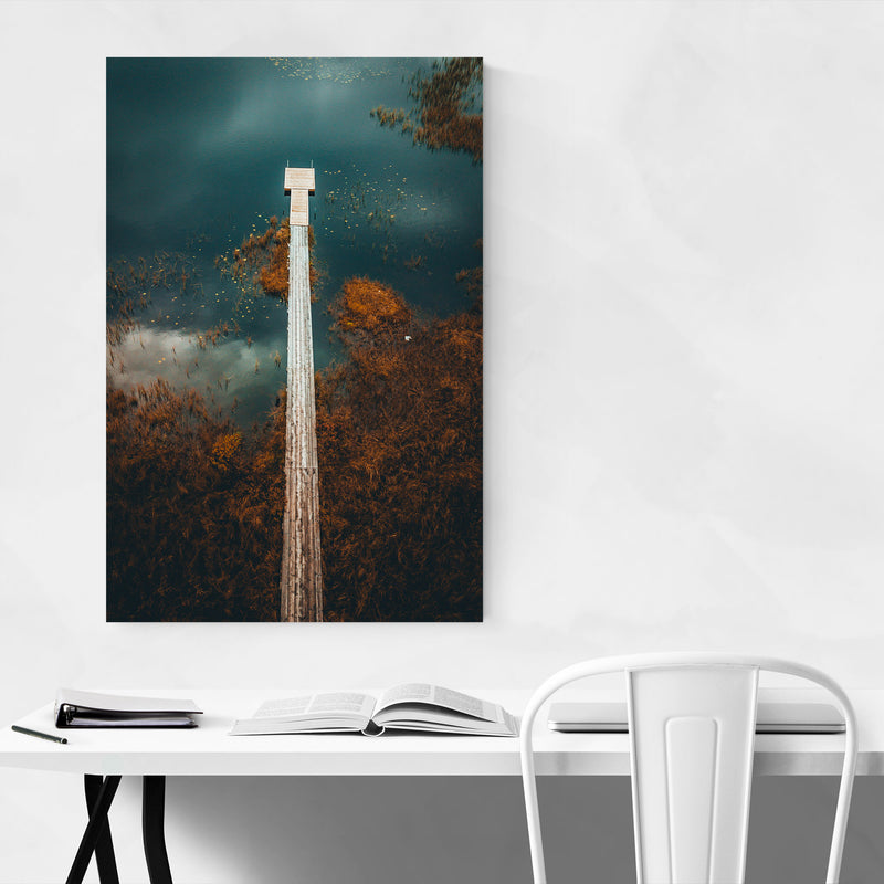 Sweden Landscape Nature Lake Metal Art Print