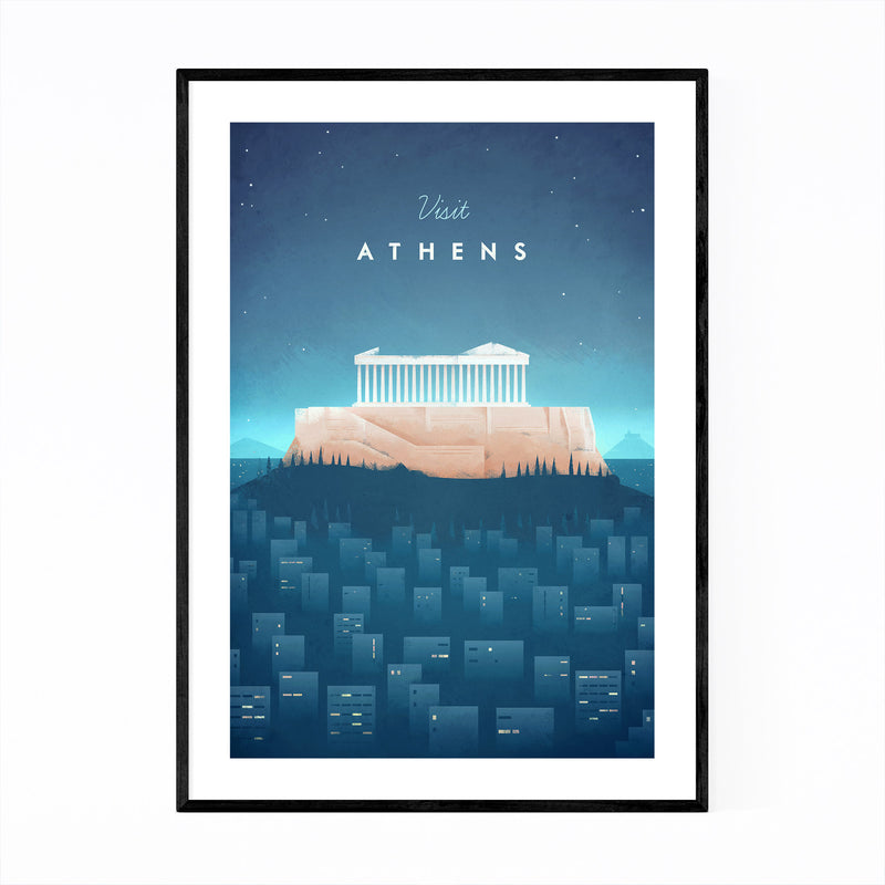 Minimal Travel Poster Athens Framed Art Print