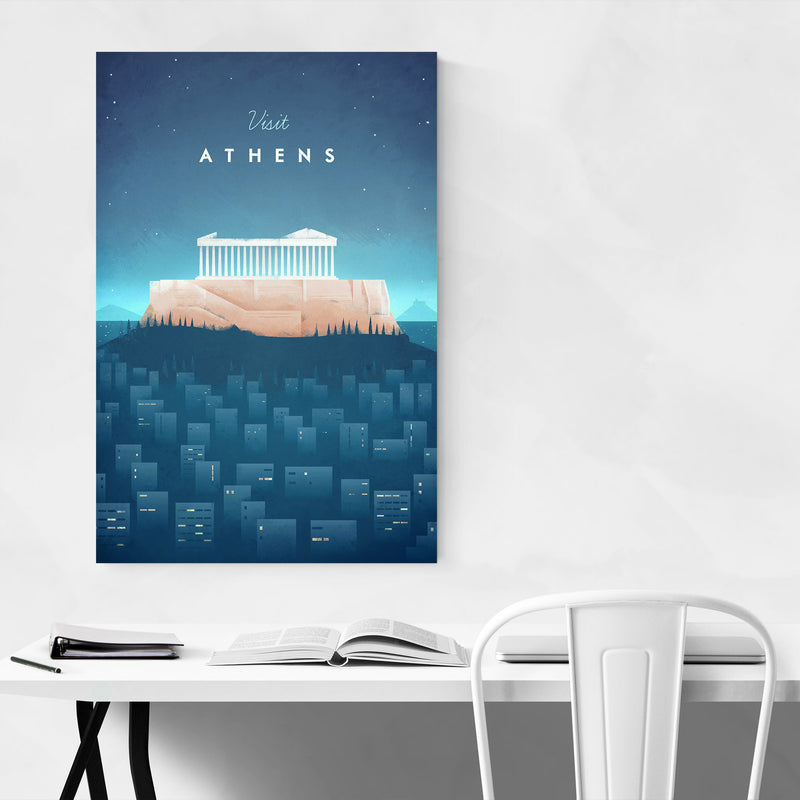 Minimal Travel Poster Athens Canvas Art Print