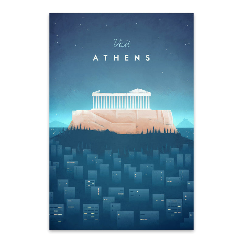 Minimal Travel Poster Athens Metal Art Print