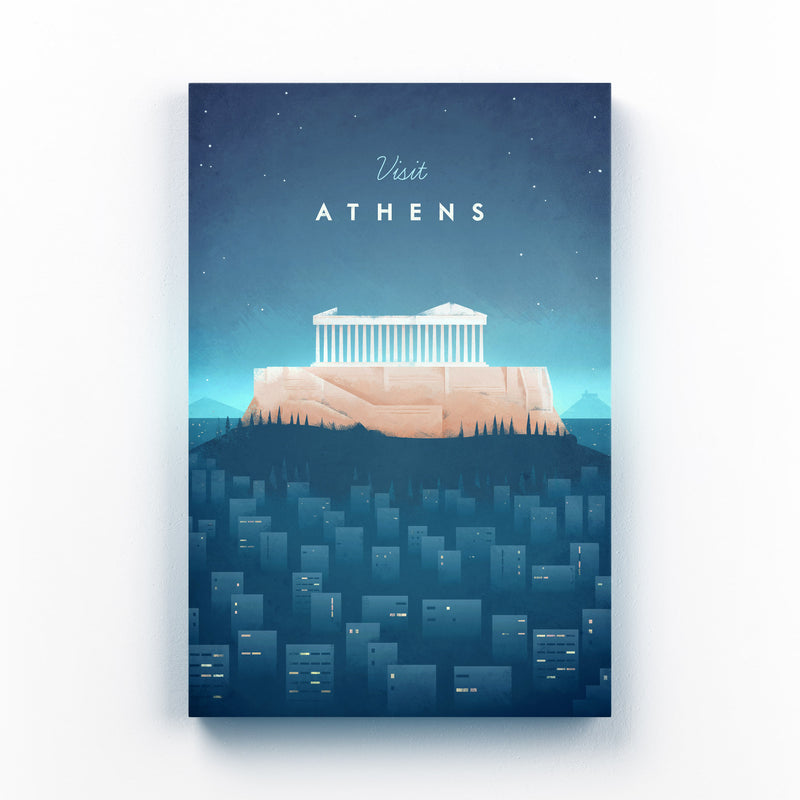 Minimal Travel Poster Athens Mounted Art Print