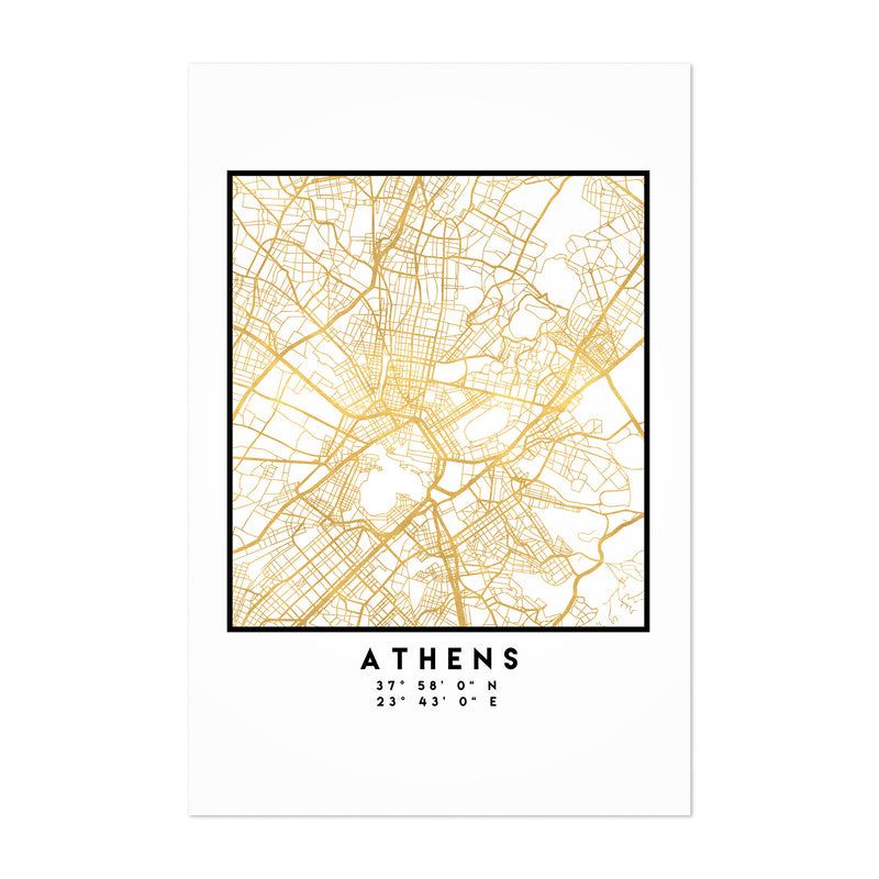 Minimal Athens City Map Art Print