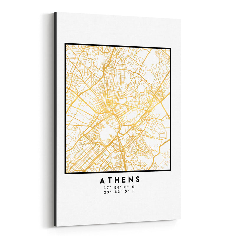 Minimal Athens City Map Canvas Art Print