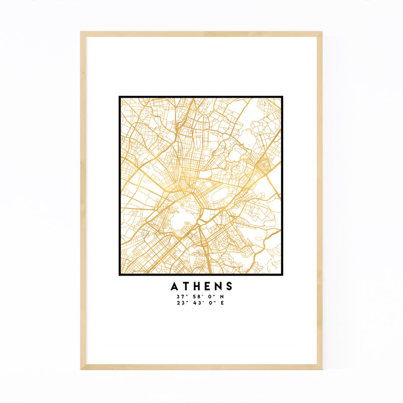 Minimal Athens City Map Framed Art Print