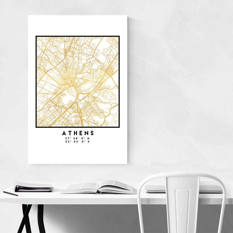 Minimal Athens City Map Metal Art Print