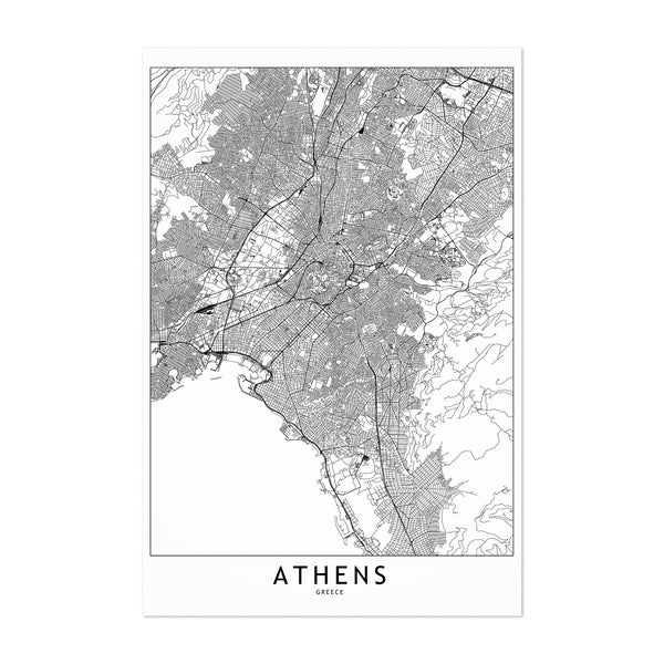 Athens Black & White City Map Art Print