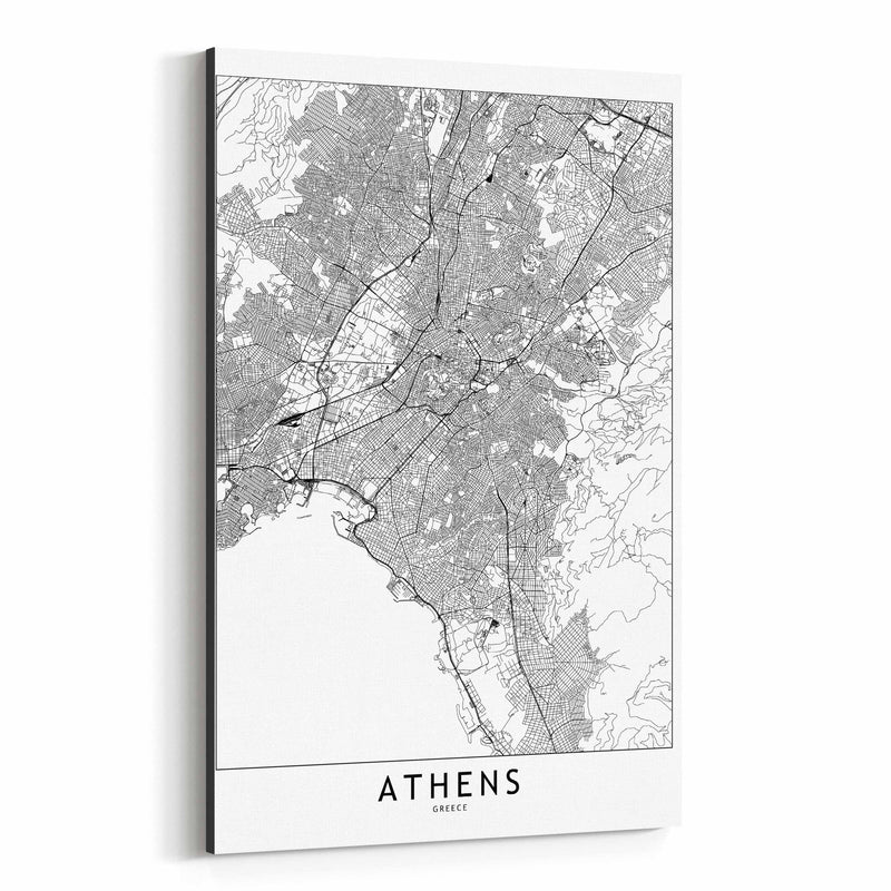 Athens Black & White City Map Canvas Art Print