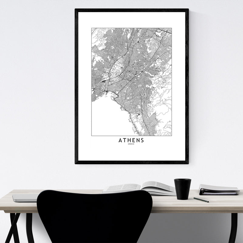 Athens Black & White City Map Framed Art Print