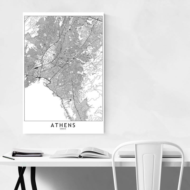 Athens Black & White City Map Metal Art Print