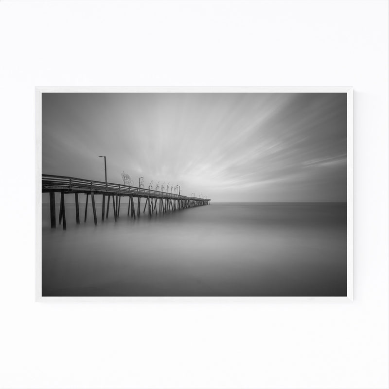 Black & White Virginia Beach Framed Art Print
