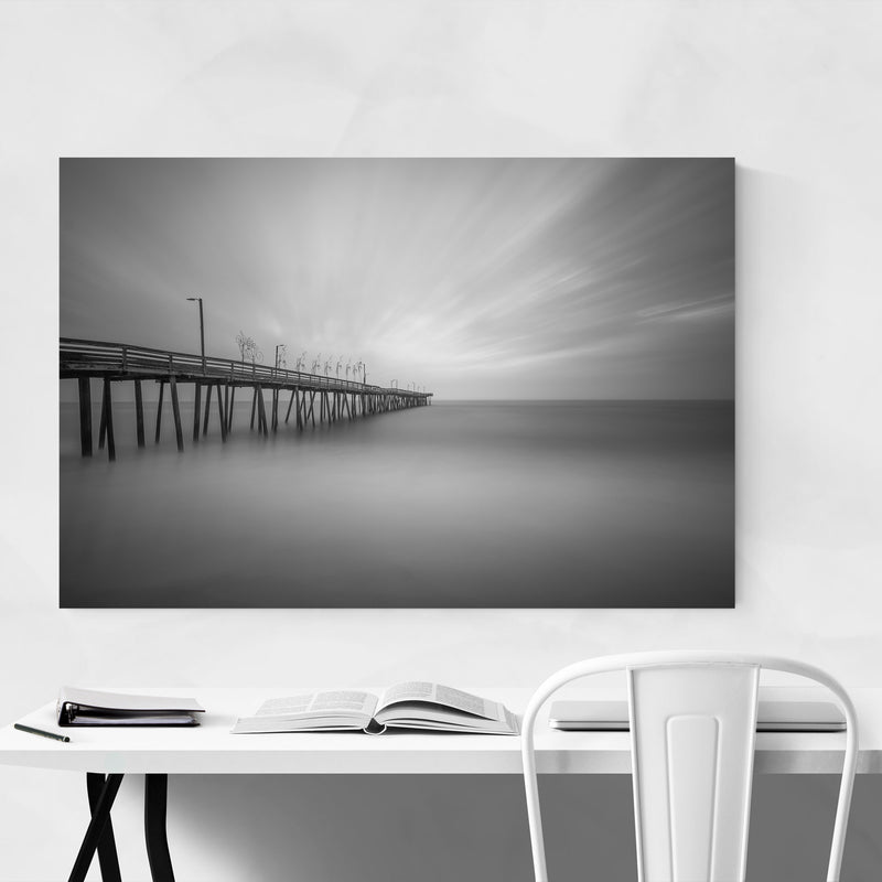 Black & White Virginia Beach Canvas Art Print