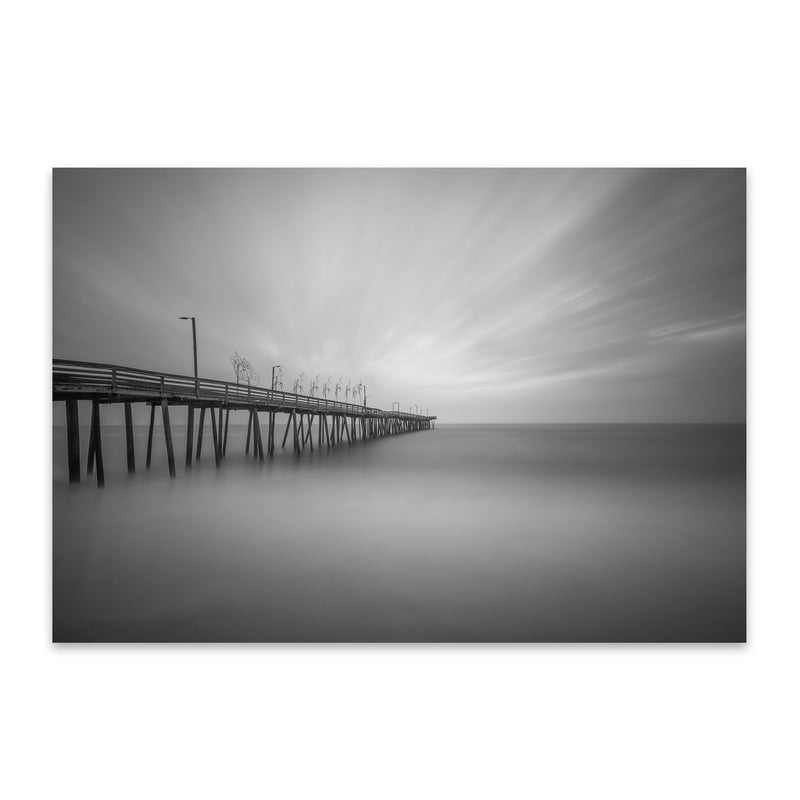 Black & White Virginia Beach Metal Art Print