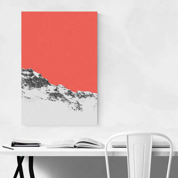 Abstract Minimal Red Mountains Art Print