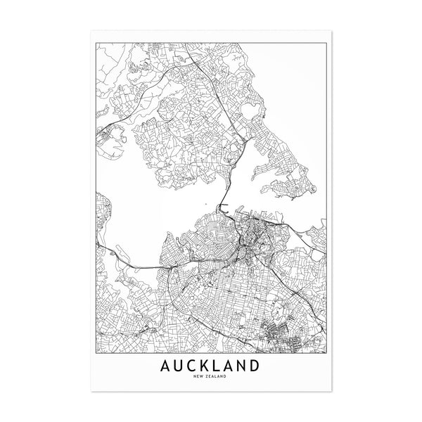 Auckland Black & White City Map Art Print