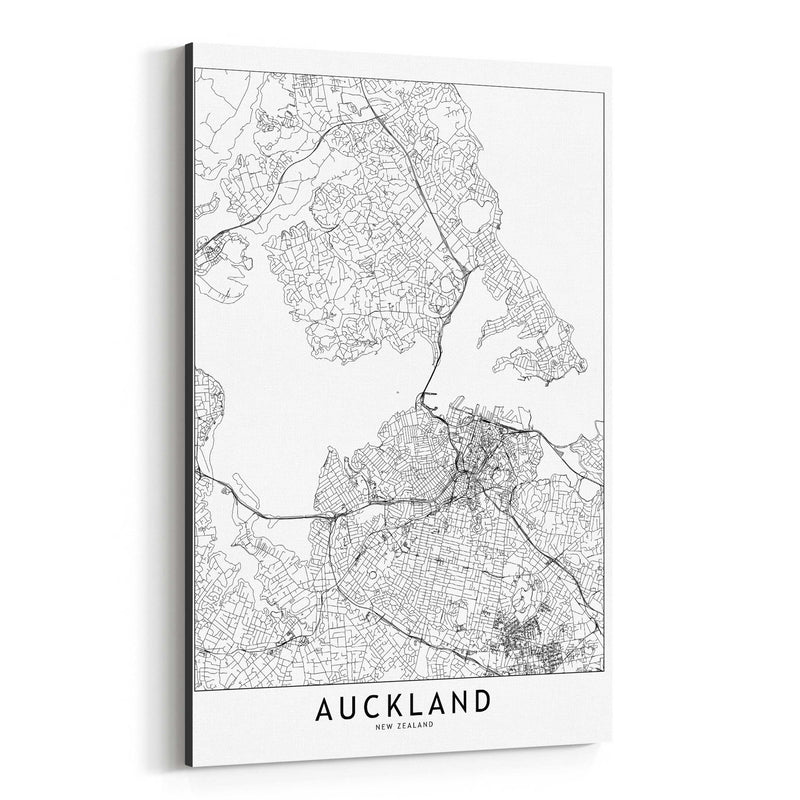 Auckland Black & White City Map Canvas Art Print
