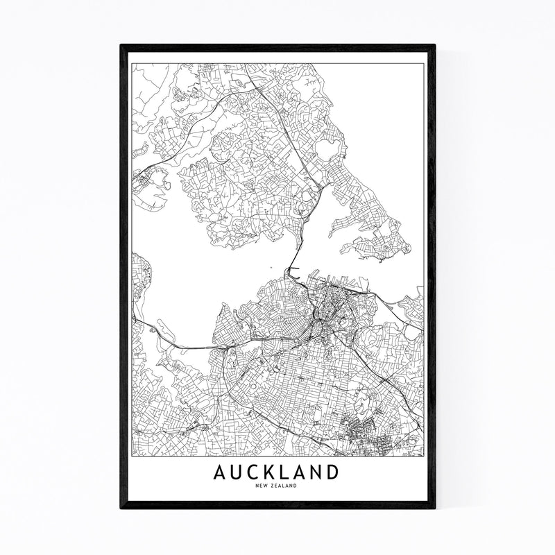 Auckland Black & White City Map Framed Art Print