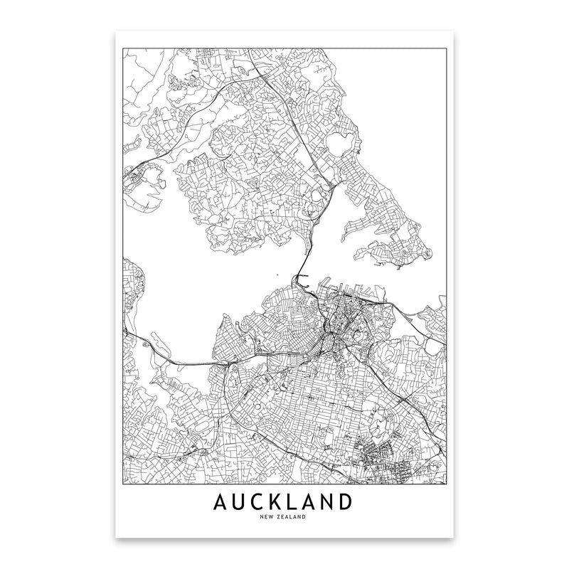 Auckland Black & White City Map Metal Art Print