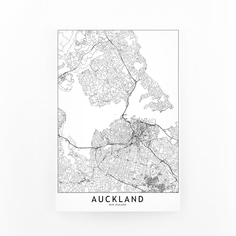 Auckland Black & White City Map Mounted Art Print