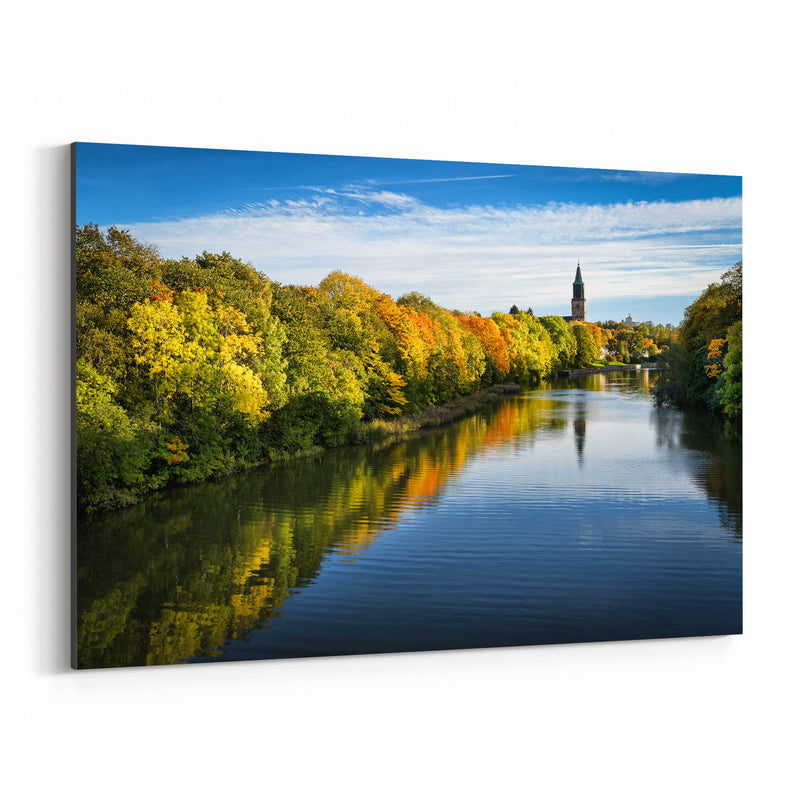 Finland Autumn River Landscape Canvas Art Print