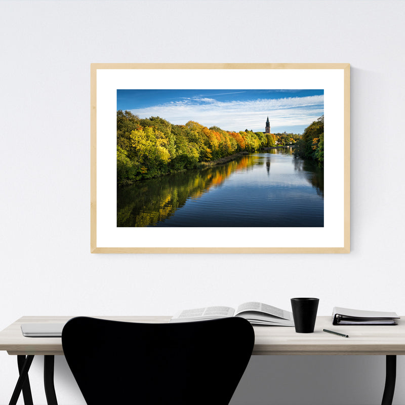 Finland Autumn River Landscape Framed Art Print