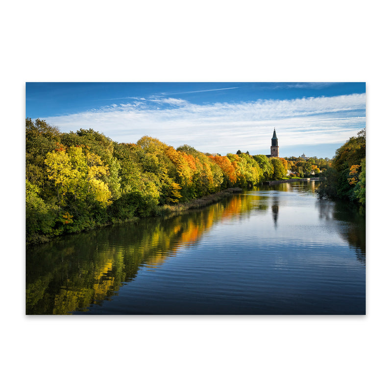 Finland Autumn River Landscape Metal Art Print