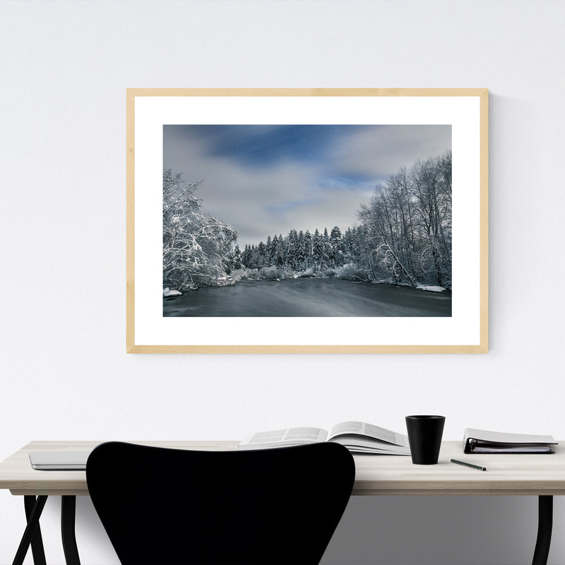 River Winter Snow Finland Nature Framed Art Print