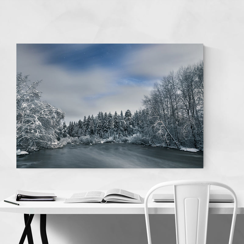 River Winter Snow Finland Nature Canvas Art Print