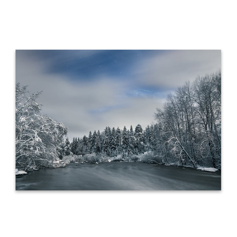 River Winter Snow Finland Nature Metal Art Print