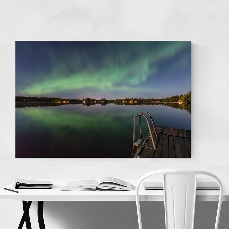 Aurora Borealis Lake Sweden Metal Art Print