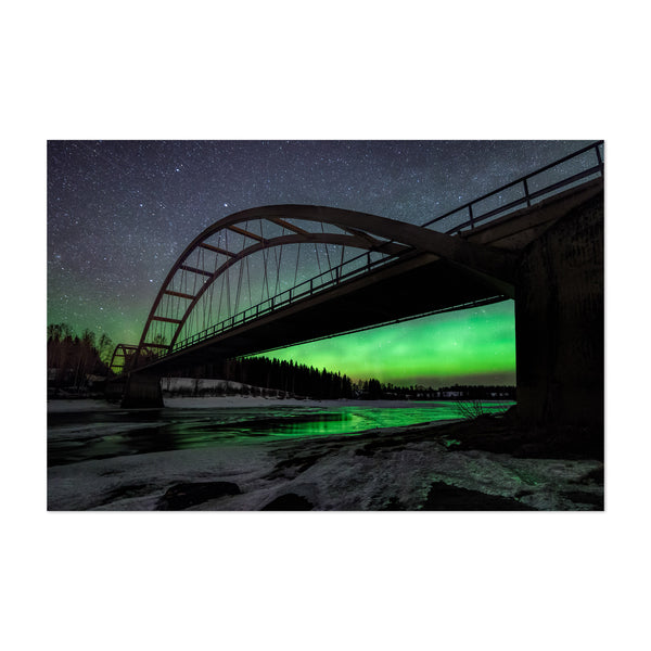 Aurora Borealis Bridge Sweden Art Print