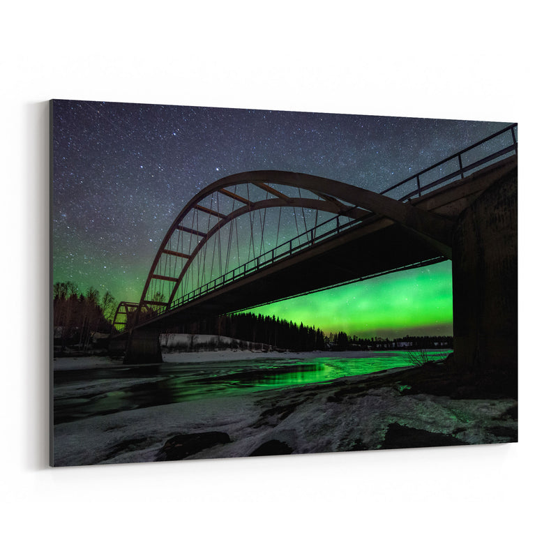 Aurora Borealis Bridge Sweden Canvas Art Print