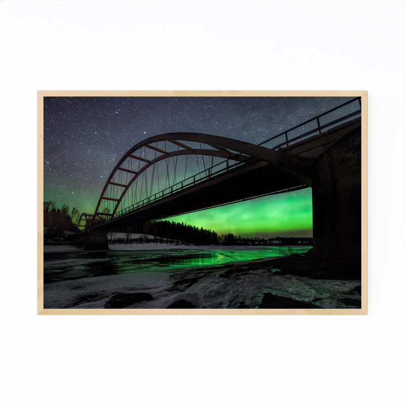 Aurora Borealis Bridge Sweden Framed Art Print
