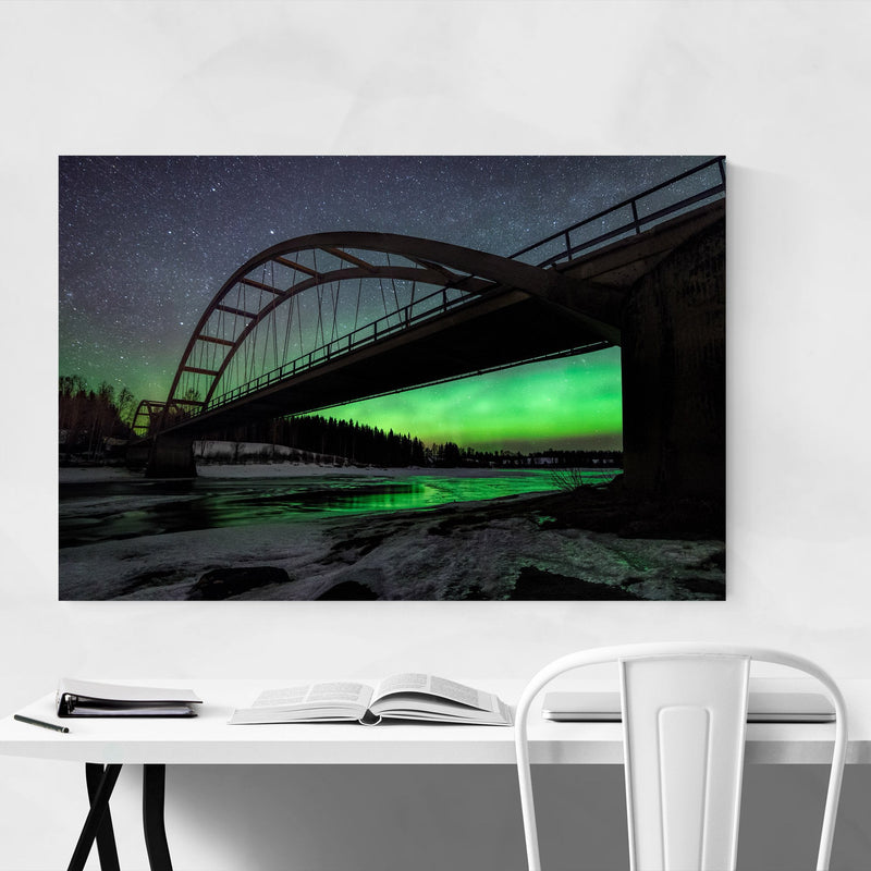 Aurora Borealis Bridge Sweden Metal Art Print