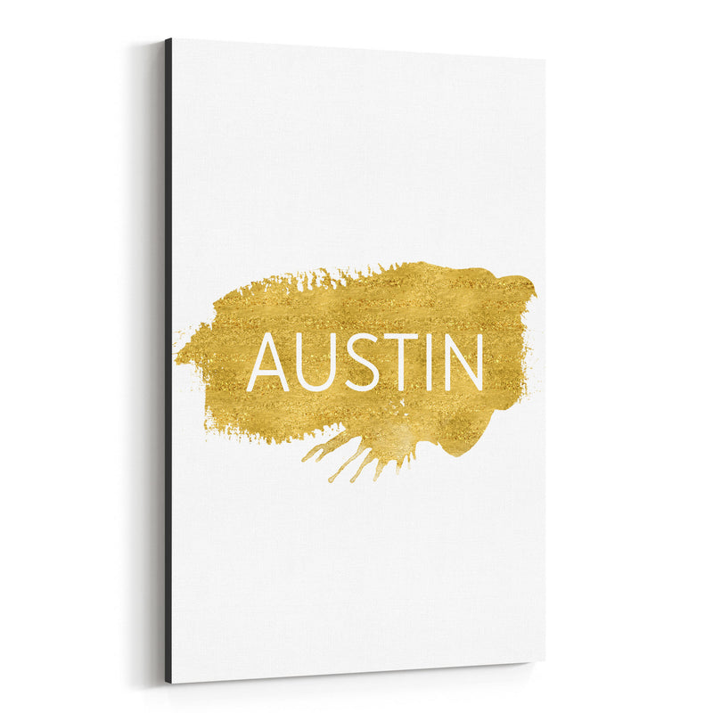 Austin Texas Gold Paint Splatter Canvas Art Print