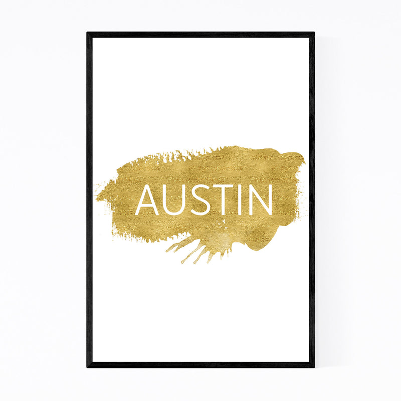 Austin Texas Gold Paint Splatter Framed Art Print