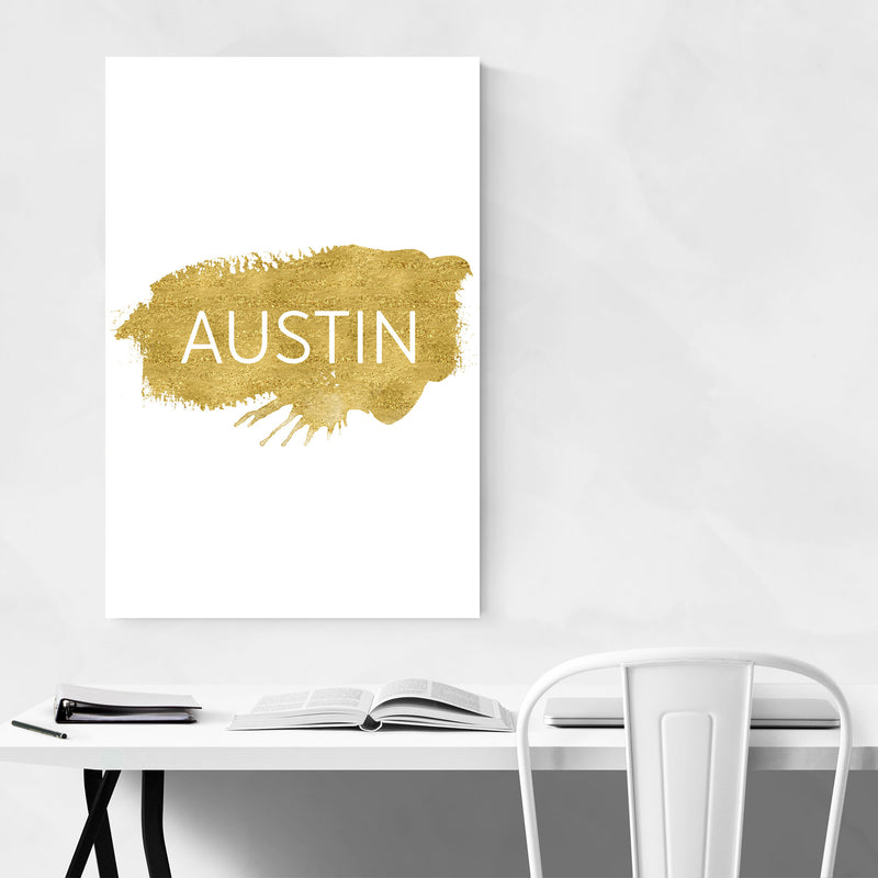 Austin Texas Gold Paint Splatter Metal Art Print