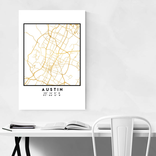 Minimal Austin City Map Art Print