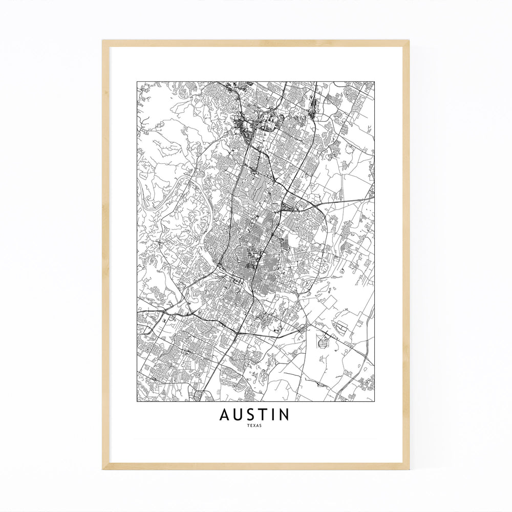 Austin Black & White City Map Framed Art Print
