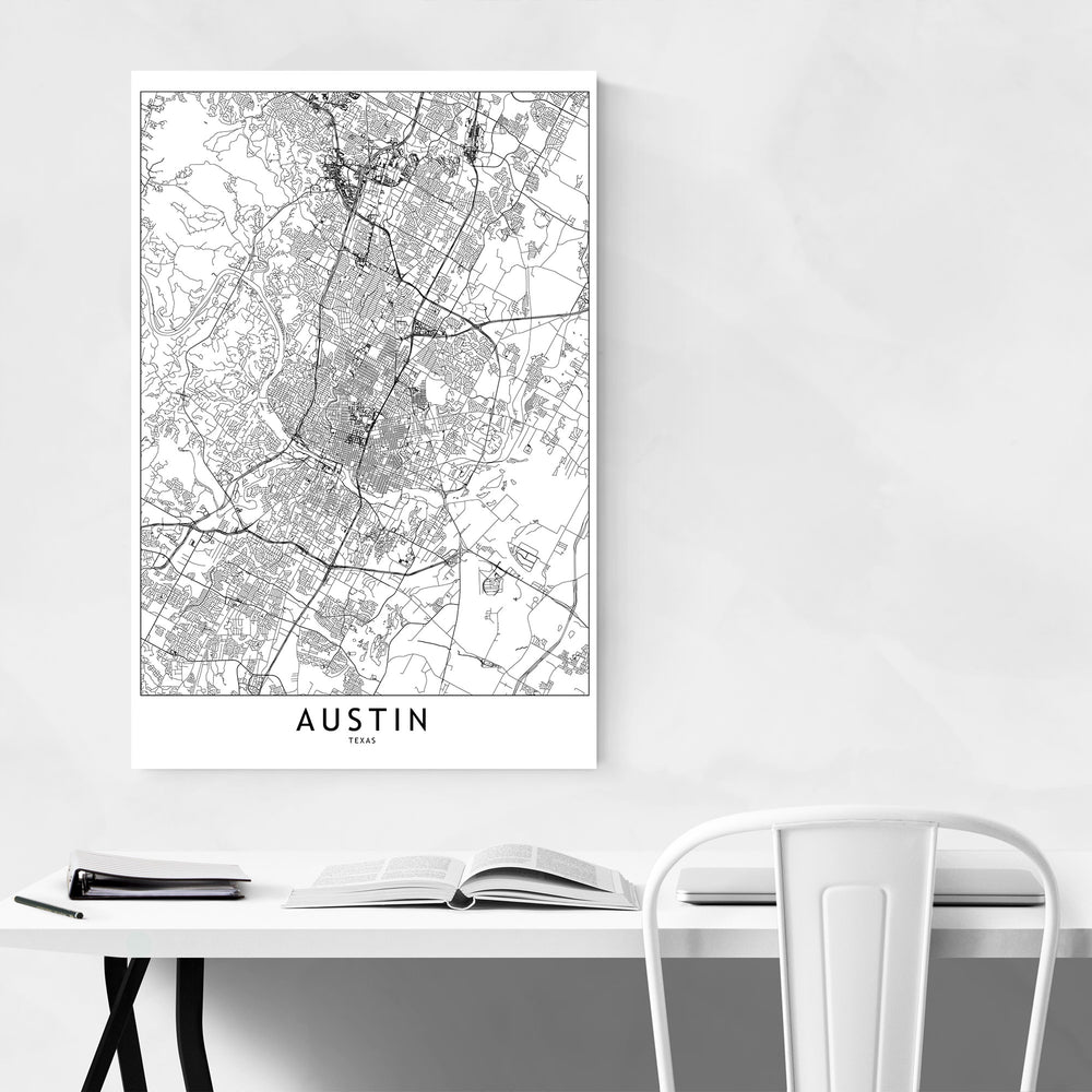 Austin Black & White City Map Art Print